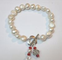 Baroque Pearl Bracelet with Celtic Style 'Infinity' Knot and Red Crystal Pendant